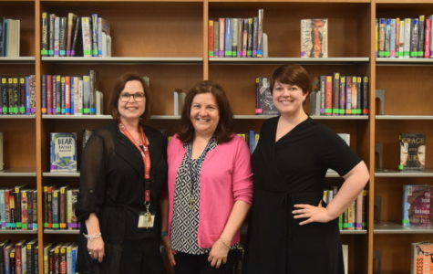 The Midlothian library staff welcomes Mrs. Elizabeth Cequeria (center) to the team.