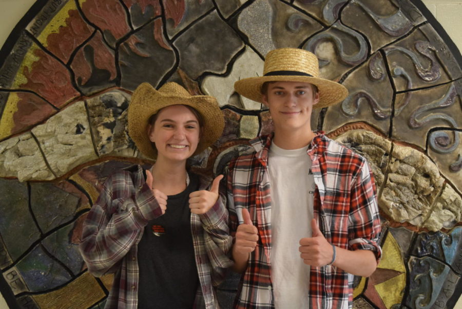 Seniors Carrie Rowley and Ryan Maher release their inner cowboy on Country vs Country Club Day during Senior Spirit Week.