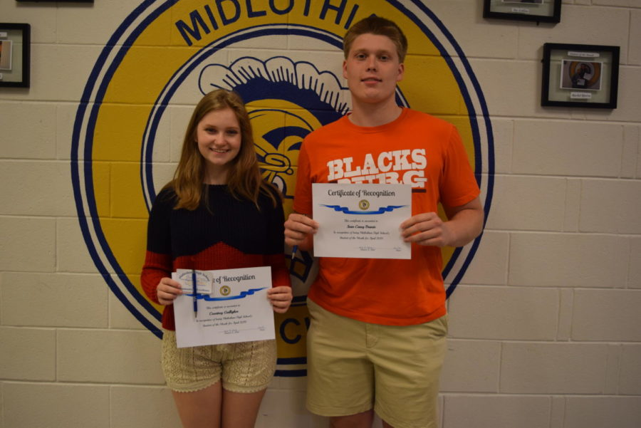 Congratulations to April Students of the Month, Courtney Galligher and Casey Branin.