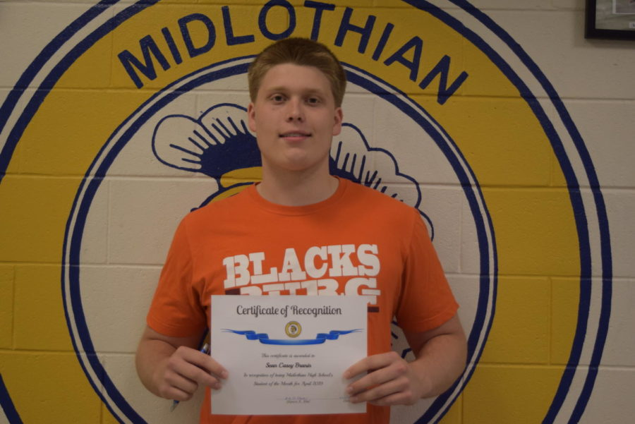Senior Casey Branin earns recognition as the April @GoMidlo Student of the Month.