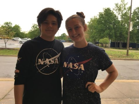 Britton Baltich and Sydney Barefoot show off their NASA gear for Out of This World Friday.