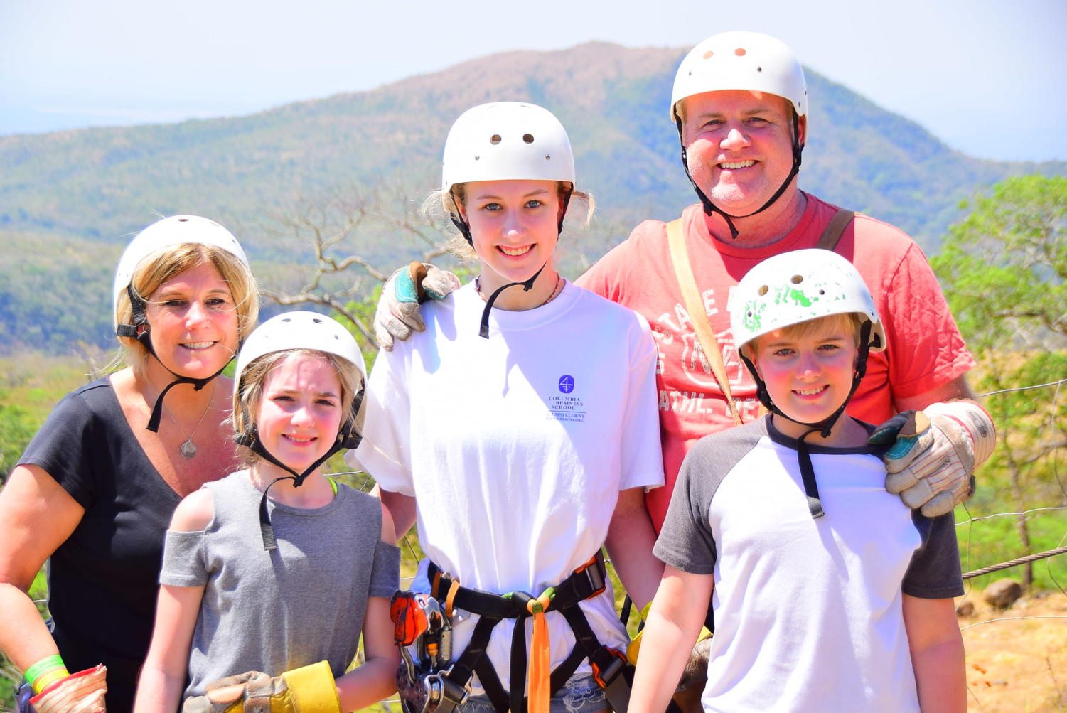 Ainsley Bryant, accompanied by her parents and siblings, prepare to go ziplining in Guanacaste, Costa Rica.