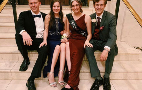 John Kessler, Caitlin Woods, Prom Queen Carrie Rowley, and Ryan Maher celebrate their senior prom together at the John Marshall Ballroom.