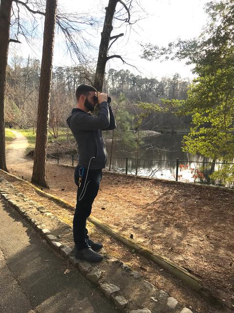 Mr. Woolard spends a quiet Saturday afternoon bird watching at Chimborazo Park.