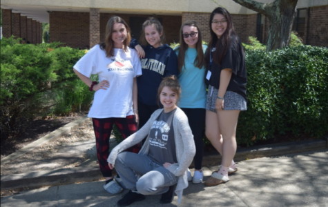 Carrie Rowley, Caitlin Woods, Sarah Moskovitz, Anna Chen, and Rachel Bybee show their Too Tired Tuesday spirit during Senior Spirit Week.