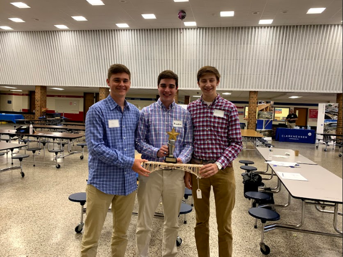 Jack Williams, Brandon Brown, and  Justin Hawkins achieved first place at the VDOT Bridge Building competition at Hermitage High School.
