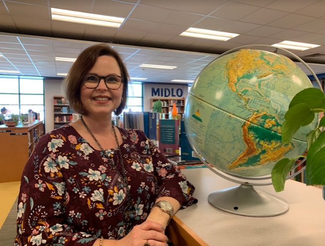 Mrs. Murfee celebrates languages and cultures through her library displays.