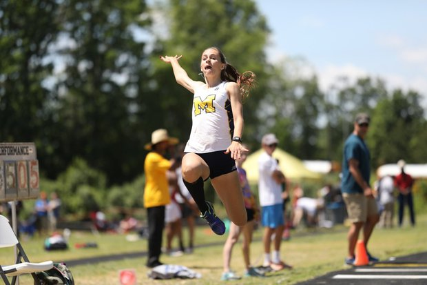 Senior Erin Babashak competes in the triple jump at the Region 4B Outdoor Track and Field Championships.