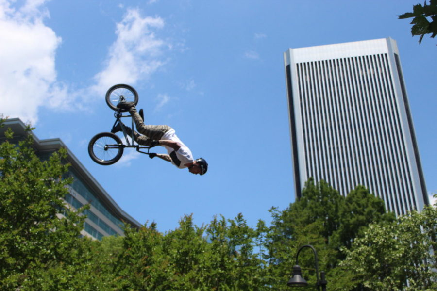 Monster+BMX+Bikers+flip+over+the+city+during+their+performance+at+River+Rock.