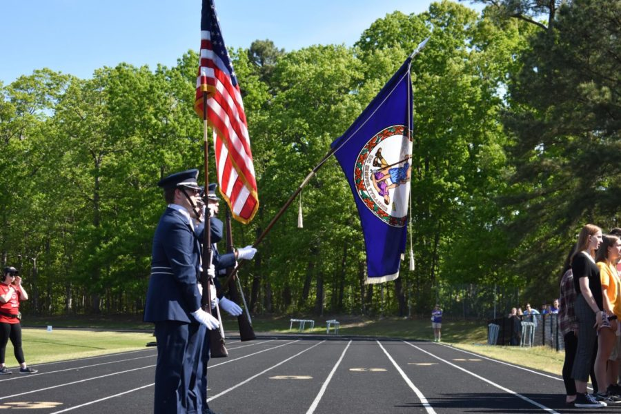 The Monacan Air Force ROTC presents the colors before the 2019 Special Olympics, held at Midlothian High School.