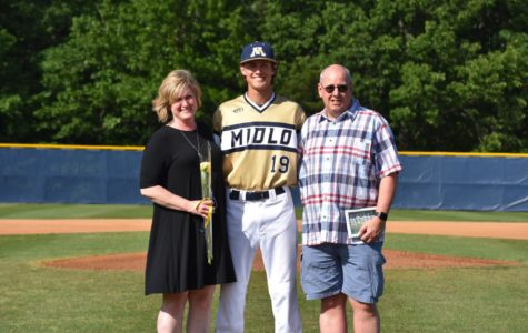 Camdton Furman's parents join him on 2019 Baseball Senior Night.