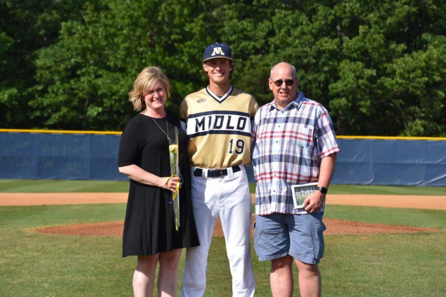 Camdton Furman's parents join him on 2019 Baseball Senior Night.