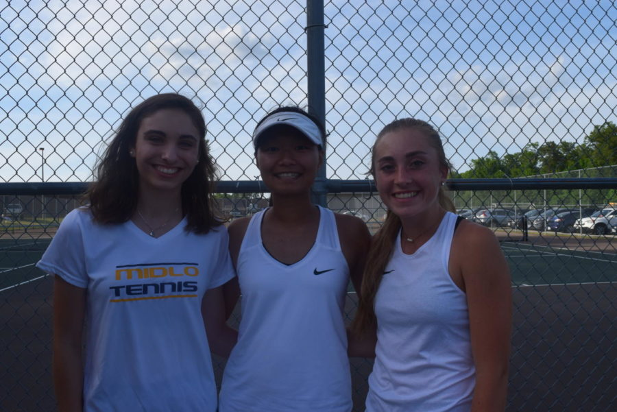 Hannah Tucker, Sherinne Zhang, and Ashley Peterson enjoy their 2019 Midlothian Girls Tennis Senior Night.