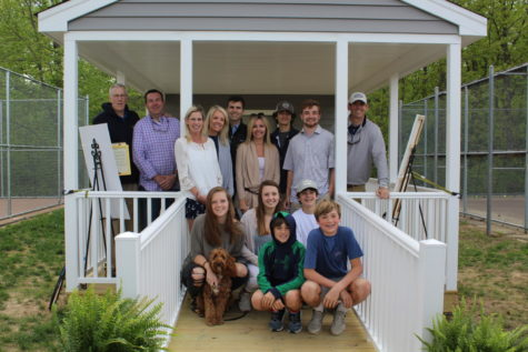 The Pomeroy family gathers to dedicate the gazebo to Debbie Pomeroy.