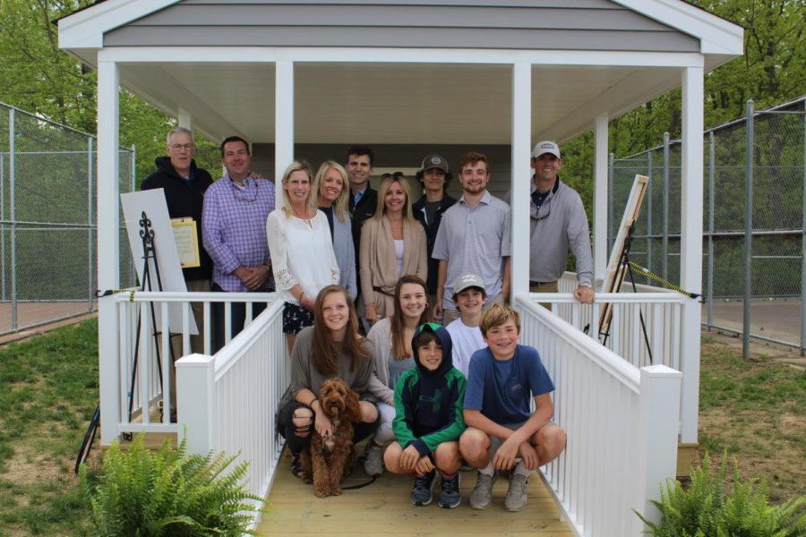 The Pomeroy family gathers to dedicate the gazebo to Debbie Pomeroy.