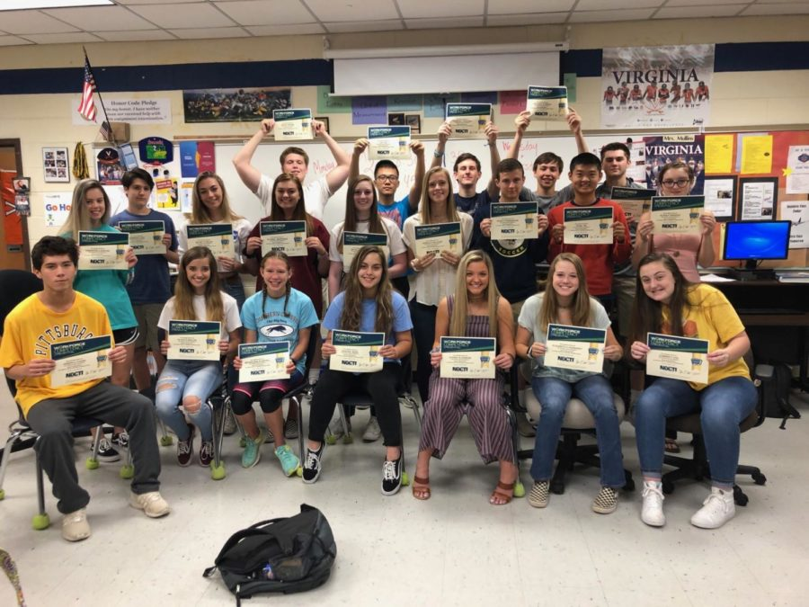 Mrs. Mullins' 2 even Honors Accounting students achieved accounting certification by taking the NOCTI Exam.