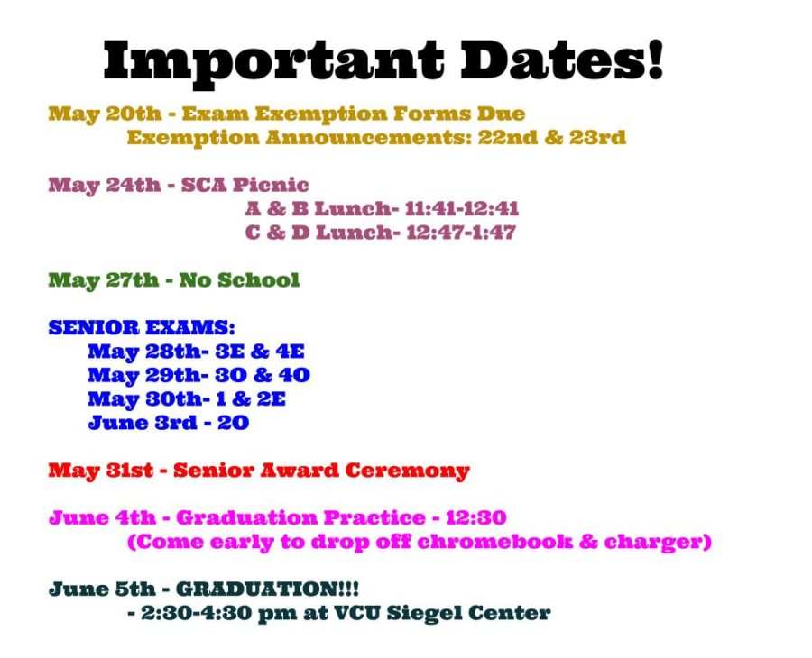 Upcoming Important Senior Dates.
