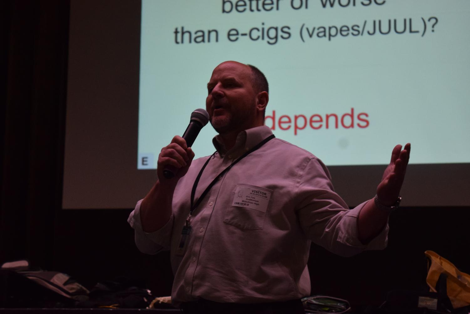 Eric Faw speaks of the dangers of e-cigarettes to the Midlo Class of 2023 at the Anti-Vaping Assembly.