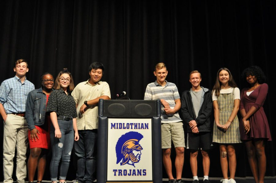 From left to right: Brendan Lane, Kennedy Olds, Skylar Caddell, Aaron Liu, Severin McNulty, Kyle Reeder, Isabella Vanderbourg, and Camryn Turner delivered Freshman Class Office speeches.