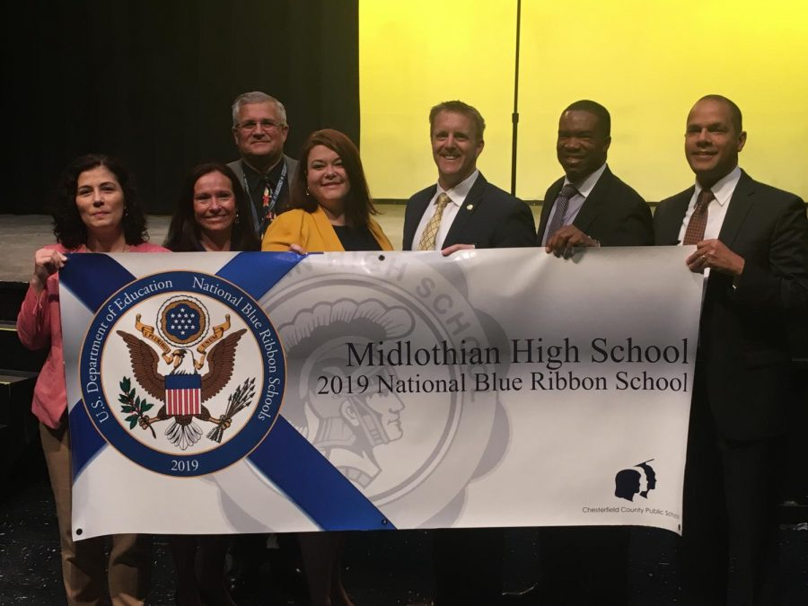 Midlothian+High+School+receives+the+extraordinary+distinction+of+National+Blue+Ribbon+High+School.+%28left+to+right%29%3A+Dr.+Belinda+Merriman%2C+Director+of+High+School+Leadership%2C+Dr.+Denise+Bowes%2C+Midlo+Assistant+Principal%2C+Dr.+Merv+Dougherty%2C+CCPS+Superintendent+of+Schools%2C+Mrs.+Elizabeth+Baber%2C+Associate+Principal+at+Monacan+High+%28previously+Midlo+Associate+Principal%29+%2C+Dr.+Shawn+Abel%2C+Midlo+Principal%2C+Dr.+John+Gordon%2C+CCPS+Chief+of+Schools%2C+and+Dr.+Javaid+Siddiqi%2C+CCPS+School+Board+Member.