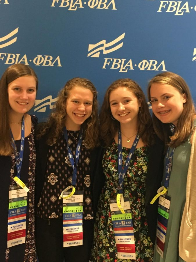 Katie Kinskie, Lena Caffel, Olivia Mulroy, and Shelby Harris impress the judges at FBLA Nationals.