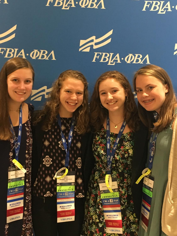 Katie Kinskie, Lena Caffel, Olivia Mulroy, and Shelby Harris impress the judges at FBLA Nationals.