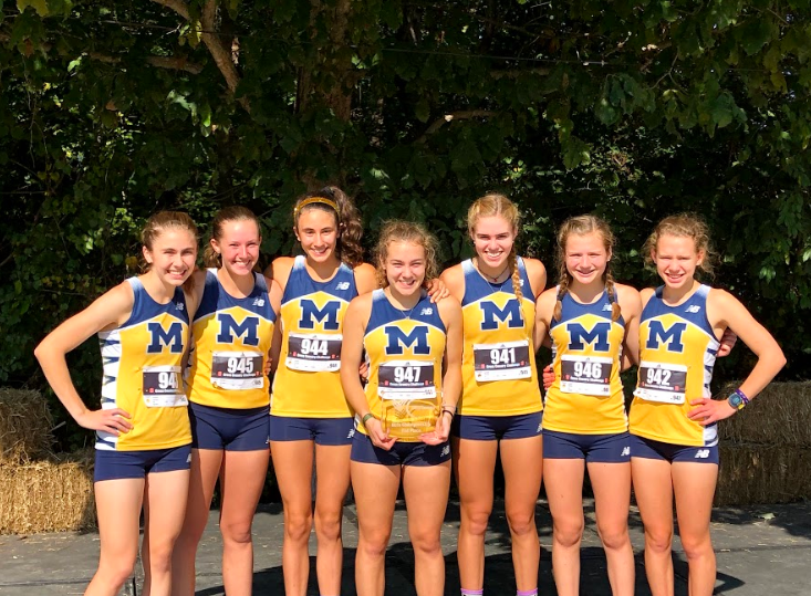 The Midlo Girls Varsity Cross Country team celebrates their second place finish at the Adidas Challenge in Cary, North Carolina.