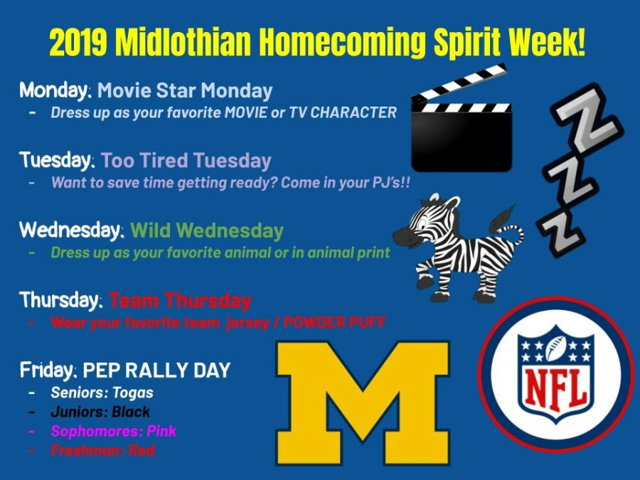 Midlothian releases the 2019 Spirit Week days.