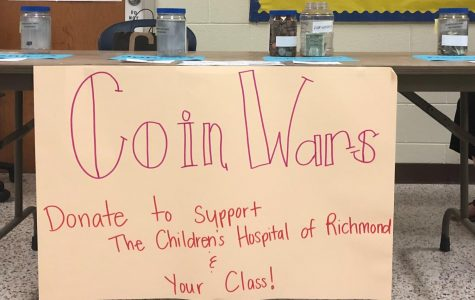 The Coin Wars table encourages all students to donate  to Children's Hospital of Richmond.