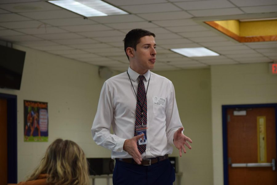 NBC12+First+Alert+Weather+Specialist+Nick+Russo+explains+to+students+his+background+in+Meteorology+and+Journalism.