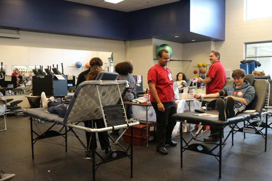 Donors prepare to give blood at the IB Blood Drive.