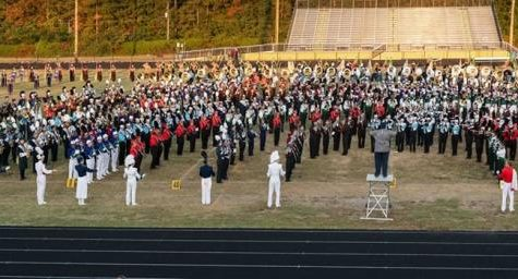 The marching bands of Chesterfield County join together to play