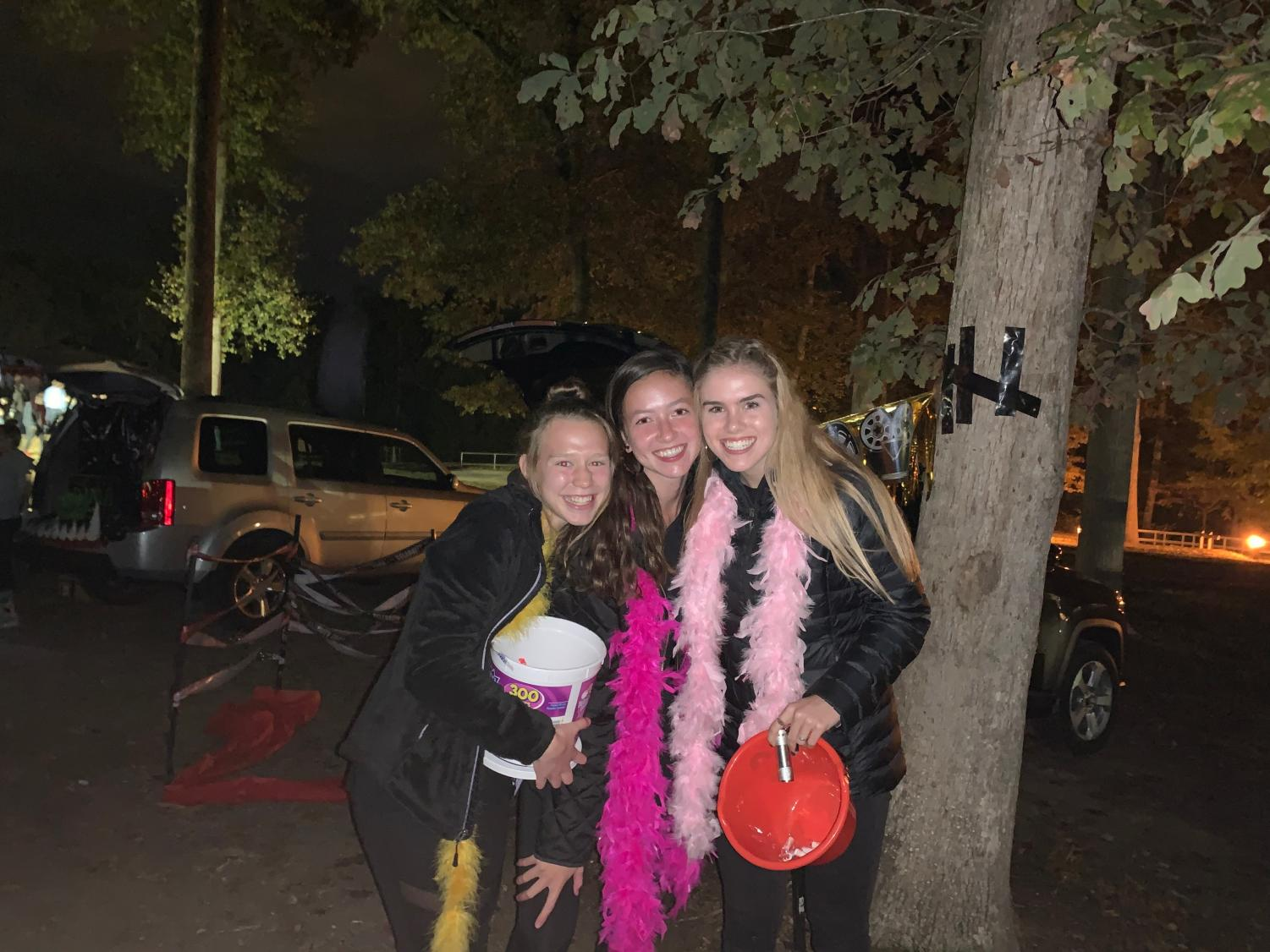 Lena Caffall, Ally Marmo, and Caroline Bowe put on a Hollywood-themed trunk-or-treat car at the 2019 Park After Dark.