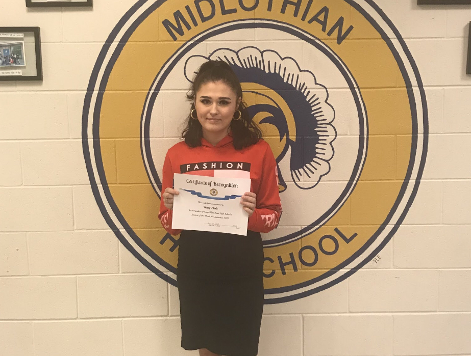 Trinity Hicks earns Midlo's September female student of the month.
