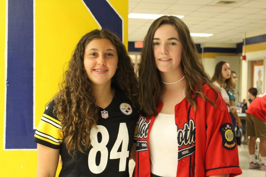 Megan Hurt and Annelise Cone rock their favorite sport team attire on Team Thursday.