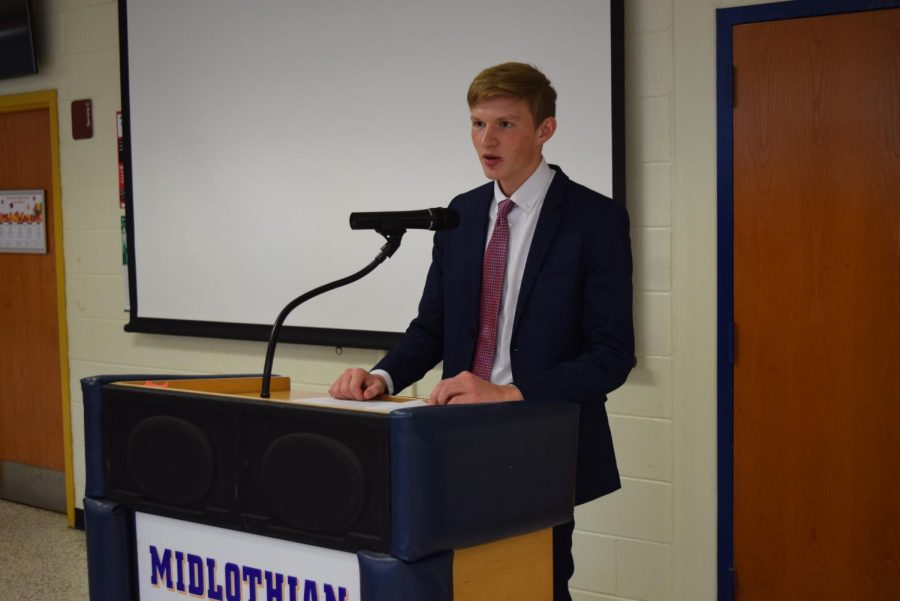 Jakob Marshall speaks to the new Tri-M inductees.