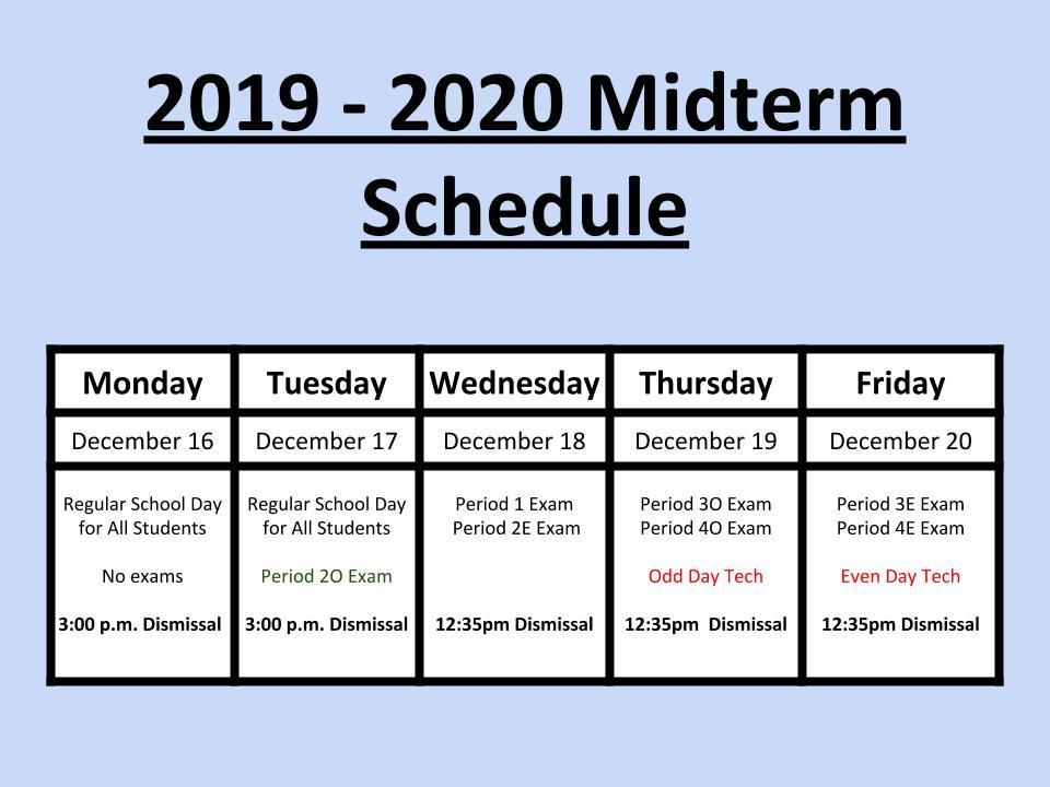 2019-2020 Midterm Schedule