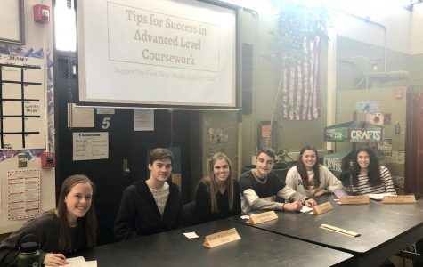 Amanda Jennings, Grant Wajciechowski, Caroline Bowe, Hunter Stanek, Emma Weber, and Katherine Krievs offer insight on how to be successful in advanced level courses at the Mentoring Kickoff Meeting.