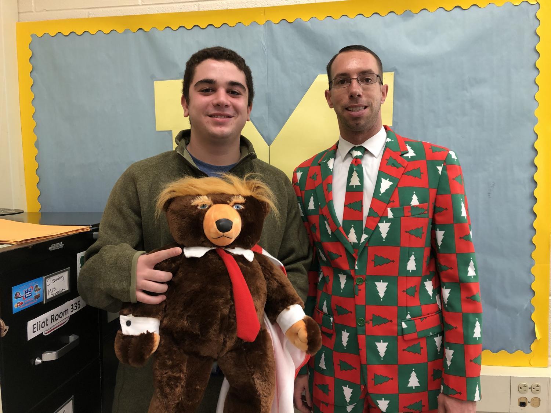 Mr. Eliot teaches student Emre Altunisik in his holiday attire.