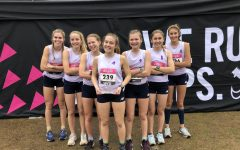 Midlo's Varsity Girls celebrate their 10th place finish at Nike Cross Regionals in Cary, North Carolina.