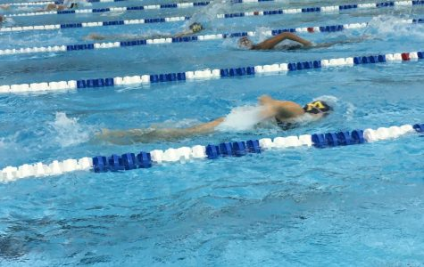 Midlo's Swim team competes against Thomas Dale.