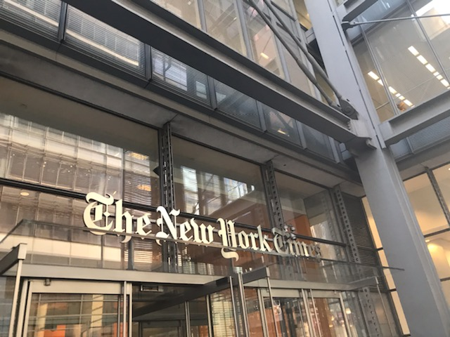 'The New York Times' front entrance welcomes visitors.