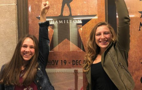 Lauren Cassano and Ellie Dreyer replicate the famous Hamilton poster.
