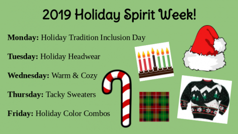 Midlo annouces 2019 Holiday Spirit Week days.