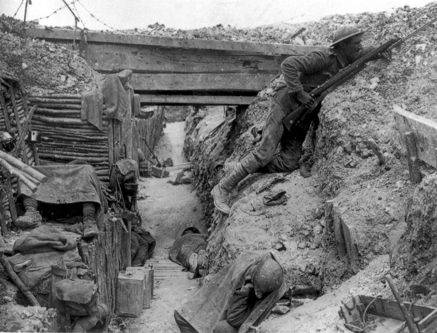 The+trenches+of+World+War+I+act+as+the+both+the+living+quarters+and+battleground+for+British+soldiers+in+the+movie+1917.