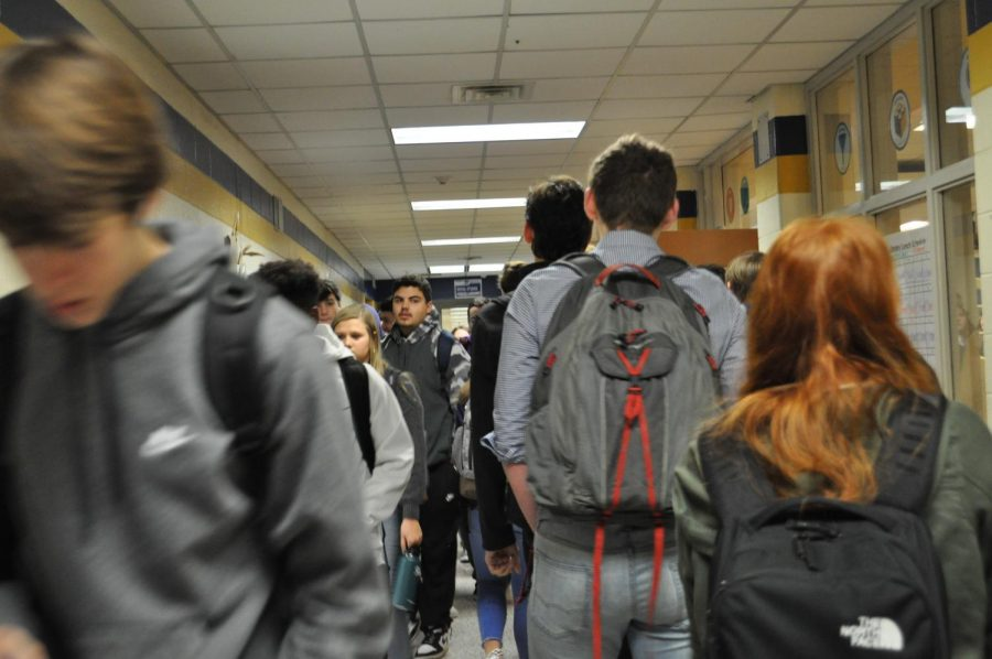 Students travel through Midlo's crowded hallways.