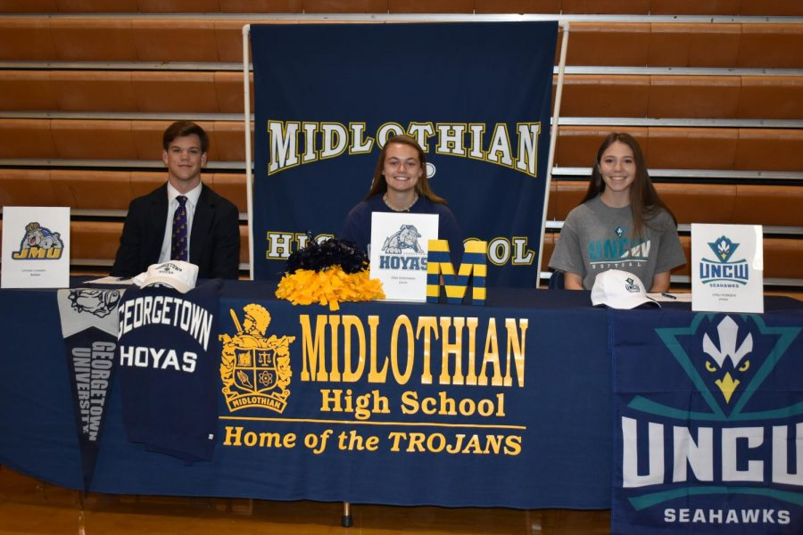 Christian Chambers, Erin Junkmann, and Emily Morrison sign their NLI to JMU, Georgetown, and UNCW.