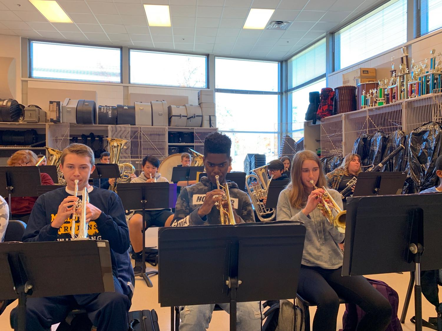 Midlothian band members practice their challenging new music.