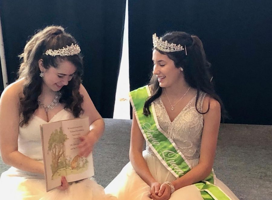Katherine Krievs and 2019 Snow Queen, Katie Taguchi, read a picture book to the children at the 2020 Snow Days Festival.