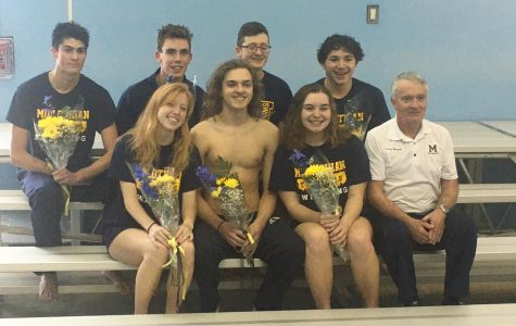 Midlothian High School Varsity Swim Team Class of 2020 with Coach Gene Bryson.